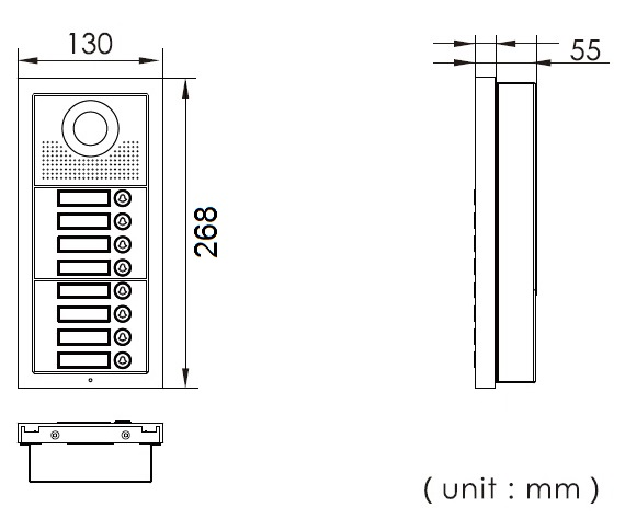 Dimensions for 8-apt button lobby unit