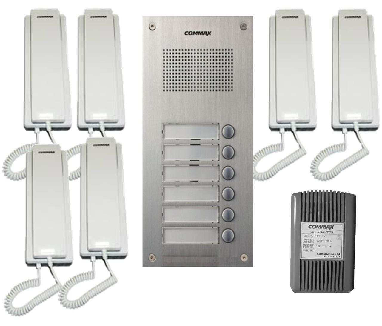 Commax Audio Intercom Kit  1x 6 Buttons Panel  6x Audio Phone 1x Power Adapter